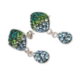 Cercei Scurti Queen Stone Square Ceralun, Verde / Albastru Deschis, Argint 925, 12mm