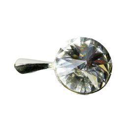 Pandantiv Queen Stone Rivoli, Alb/Cristal, Argint 925, 12mm