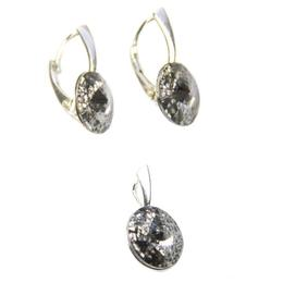 Set Queen Stone Rivoli Silver Patina, Alb/Gri, Argint 925, 12mm