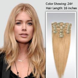 Extensii clip - on Veritable cu 12 piese, lungime 55 cm , culoare blond auriu ( # 24 )