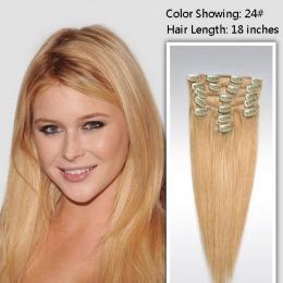Extensii clip - on Veritable cu 10 piese, lungime 60 cm , culoare blond auriu ( # 24 )