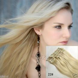 Extensii clip - on Veritable cu 12 piese, lungime 60 cm , culoare blond auriu ( # 24 )