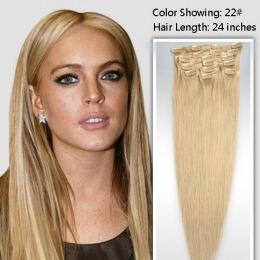 Extensii clip - on Veritable cu 10 piese, lungime 65 cm , culoare blond auriu ( # 24 )