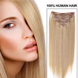 Extensii clip - on Veritable cu 12 piese, lungime 65 cm , culoare blond auriu ( # 24 )