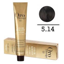 Vopsea fara amoniac - Fanola Oro Therapy Color Keratin-5.14 ciocolatiu amarui extra
