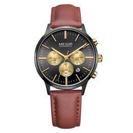 Ceas de dama Megir rezistent la apa 3Bar mecanism Quartz curea din piele maro afisaj analogic calendar complet cronometru stil Fashion + cutie cadou