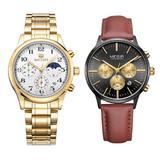 Set ceas barbatesc + ceas dama Megir rezistent la apa 3Bar mecanism Quartz calendar complet afisaj analogic stil Fashion + cutie cadou
