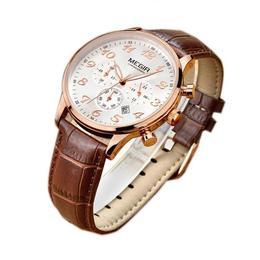 Ceas Megir barbatesc rezistent la apa 3Bar mecanism Quartz curea din piele cronograf calendar complet afisaj analogic stil Fashion + cutie cadou