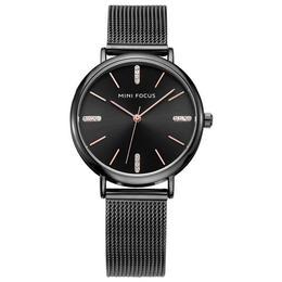 Ceas de dama Mini Focus negru rezistent la apa 3Bar mecanism Quartz curea din otel inoxidabil afisaj analogic stil Fashion + cutie cadou