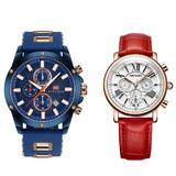 Set ceas Mini Focus barbatesc + ceas dama Megir rezistent la apa 3Bar mecanism Quartz afisaj analogic calendar complet + cutie cadou