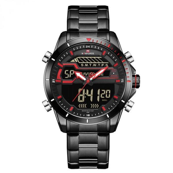 Ceas Naviforce model 2018 mecanism Quartz rezistent la apa 3ATM curea otel inoxidabil negra afisaj digital si analogic stil Sport + cutie cadou