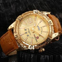 Ceas Naviforce barbatesc Gold mecanism Quartz curea din piele maro rezistent la apa 3Bar si la zgarieturi stil business + cutie cadou