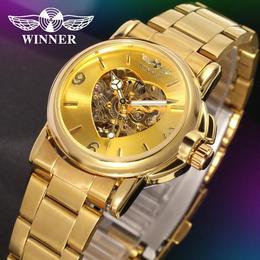 Ceas de dama Winner schelet automatic-mecanic Gold bratara din otel inoxidabil rezistent la zgarieturi stil fashion + cutie cadou