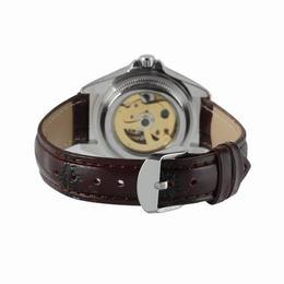 Set ceas barbatesc si dama Winner carcasa din aliaj de culoare galbena curea din piele neagra mecanism automatic-mecanic rezistent la zgarieturi