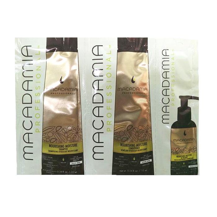 Pachet Nutritiv - Macadamia Nourishing Moisture Trio Foil Pack: sampon (10ml), balsam par (10ml) si tratament nutritiv si hidratant (5ml) esteto.ro
