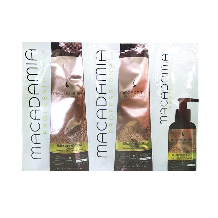 Pachet Hidratant pentru Bucle - Macadamia Ultra Rich Moisture Trio Foil Pack: sampon (10ml), balsam par (10ml), ulei tratament (5ml) imagine produs