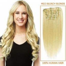 Extensii clip - on Veritable cu 10 piese, lungime 55 cm , culoare blond platinat ( # 613 )