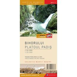 Muntii Bihorului - Platoul Padis - Harta de drumetie - Muntii nostri, editura Schubert & Franzke