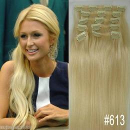 Extensii clip - on Veritable cu 12 piese, lungime 55 cm , culoare blond platinat ( # 613 )