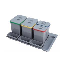 Cos de gunoi Praktico incorporabil in sertar, cu 4 recipiente, pentru corp de 900 mm latime - Maxdeco
