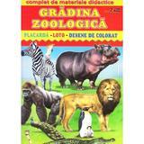Gradina zoologica - Placarda, Loto, Desene de colorat, editura Biblion