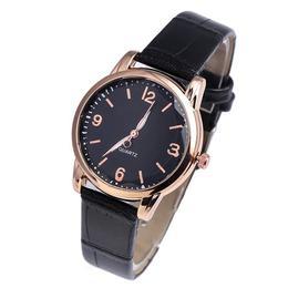 Ceas de dama elegant Geneva, curea piele, model negru