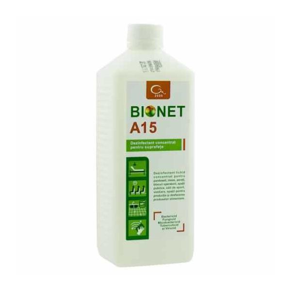 Dezinfectant concentrat pentru suprafete Bionet A15 1 litru esteto.ro