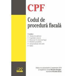 Codul de procedura fiscala Act. 2 Septembrie 2018, editura Rosetti
