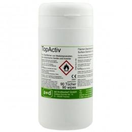 Servetele umede cu dezinfectant suprafete TopActiv Prima, cutie dispenser, 90 buc