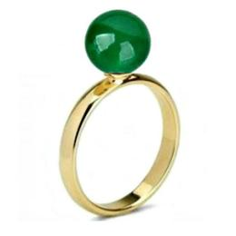 Inel din Aur cu Jad Natural - Cadouri si Perle