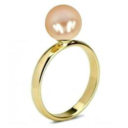 Inel din Aur cu Perla Naturala de Cultura Crem - Cadouri si Perle