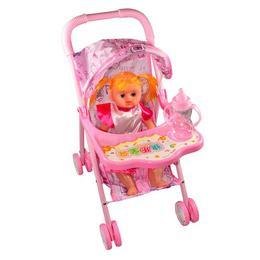 Carucior roz cu papusa baietel parfumata, 55 x56 cm - Baby Lovely