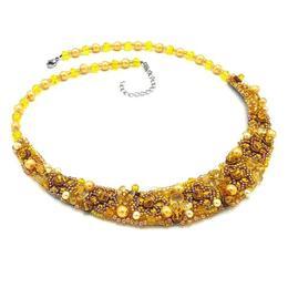 Colier la baza gatului elegant brodat cu margele si pietre semipretioase, galben, Zia Fashion
