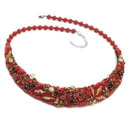 Colier statement elegant brodat cu margele, perle Swarovski, Forever Red, Zia Fashion