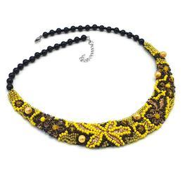 Colier statement elegant brodat cu margele si pietre semipretioase, culoarea galben/ negru, Naomi, Zia Fashion