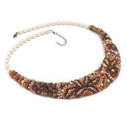 Colier statement elegant brodat cu margele, perle Swarovski, la baza gatului, Anastasia, Zia Fashion