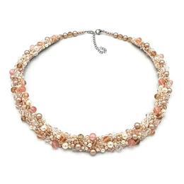 Colier elegant la baza gatului cu perle swarovski si cristale, Shine, Zia Fashion