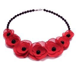 Colier elegant cu pietre semipretioase si flori, culoarea rosu,Sweet Love, Zia Fashion