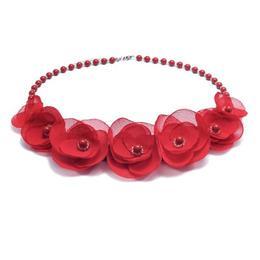 Colier elegant cu perle Swarovski si flori, culoarea rosu, Like a Rose, Zia Fashion