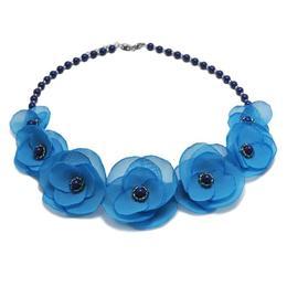 Colier elegant cu perle Swarovski si flori, culoarea albastru, Blue Sky, Zia Fashion
