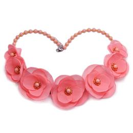 Colier elegant cu perle Swarovski si flori, culoarea roz, Rosalina, Zia Fashion