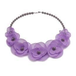 Colier elegant cu perle Swarovski si flori, culoarea lila, Cute Lilly, Zia Fashion