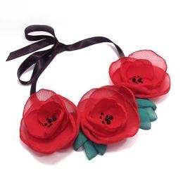 Colier Statement cu Maci Rosii, Red Poppies, Zia Fashion