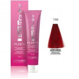 Vopsea fara Amoniac - Oyster Cosmetics Perlacolor Purity nuanta 7/66 Biondo Medio Rosso Intenso