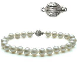 Bratara Perle Naturale Albe Premium de 7-8 mm cu Inchizatoare Sferica de Aur Alb - Cadouri si Perle
