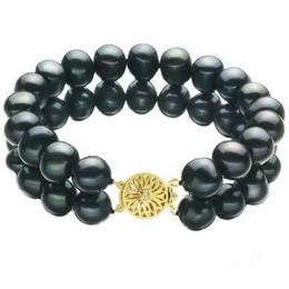 Bratara Dubla Aur Galben si Perle Naturale Negre - Cadouri si Perle