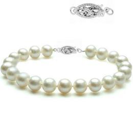 Bratara Aur Alb si Perle Naturale Albe Premium de 8-9 mm - Cadouri si Perle
