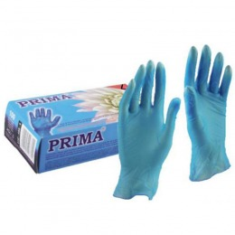 Manusi Medicale Colorate Vinil Pudrate Albastre Marimea L - Prima Vinil Examination Gloves Light Powdered Blue L, 100 buc