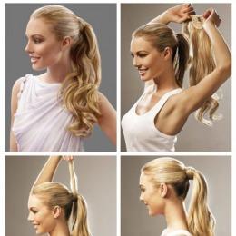 Coada de par Veritable , lungime 50 cm , culoare blond aluna ( # 12 )