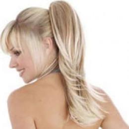 Coada de par Veritable , lungime 60 cm , culoare blond platinat ( # 613 )
